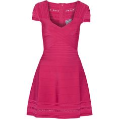 Hervé Léger Bandage mini dress (1,475 BAM) ❤ liked on Polyvore featuring dresses, pink, short pink dress, pink fitted dress, herve leger dress, loose dress and short dresses