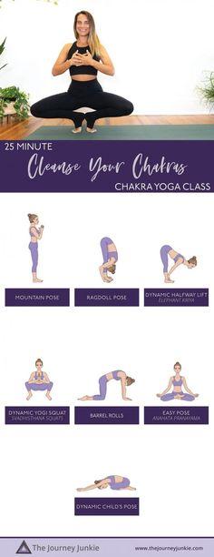 Cleanse Your Chakras: 25 Min Full Body Yoga Flow - The Journey Junkie Kid Poses, Yoga Poses, Total Body, Full Body, Bedtime Yoga, Chakra System, Gentle Yoga, Chakra Meditation, Chakra Healing