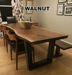 Custom Made Live Edge Walnut Slab Dining Table Beth Pinterest Walnut Slab