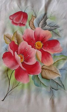 Fabric Painting: Tips, Flowers Risk + 75 Photos - Painting School Saree Painting, Tole Painting, Fabric Painting, Painting Tips, Watercolor Flowers, Watercolor Paintings, Fabric Paint Designs, Hand Painted Fabric, Arte Floral