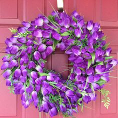 Deep Purple Tulip Wreath, Spring Wreath, Mother's Day Gift Idea, Easter Decor