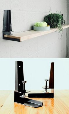 A gift that will bring order to someones home - the Floyd Shelf is a tool that allows you create a Shelf from any flat surface by installing the brackets & clamping to the material. Design Industrial, Industrial Furniture, Diy Furniture, Furniture Design, Beton Design, A Shelf, Wood And Metal, Home Projects, Shelving