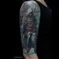 """Amazing Assassins Creed tattoo by @mihail_storochzenko #assassinscreed #assassinscreedtattoo #videogametattoo #gametattoo #tattoo Thanks Mihail!! =D"""