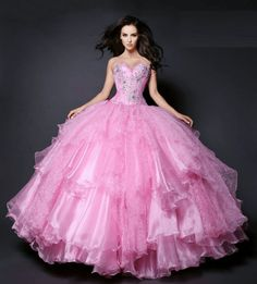 wholesale new sweet 15 dress pink organza satin beaded quinceanera ball gown Xyz Bridal 15 Dresses Pink, Sweet 15 Dresses, Pretty Prom Dresses, Quince Dresses, Pink Gowns, Princes Dress, Disney Princess Dresses, Quinceanera Dresses Blush, Little Pink Dress