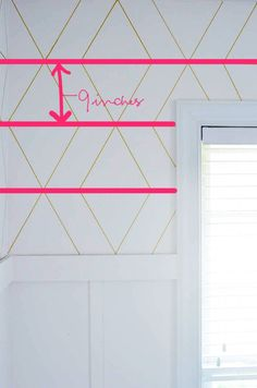A Gold, Bold Geometric Sharpie Wall - The Bold Abode. I would love to do this but not sure our wall texture could handle such coolness. Sharpie Wall, Gold Sharpie, Sharpies, Tape Wall, Accent Wall Bedroom, Accent Walls, Diamond Wall, Ideias Diy, Just Dream