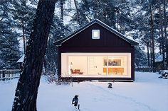 Drawing from childhood memories of fairy tales and dark forests the 'waldhaus' is a tiny contemporary cabin in the woods by German architecture firm Atelier ST. Cabin Design, House Design, Contemporary Cabin, Cabin In The Woods, A Frame House, Forest House, Forest Cottage, Cabins And Cottages, Black House