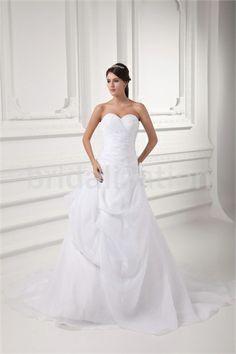 Elegant Church A-Line Sweetheart Court Train Satin Wedding Dresses 2014