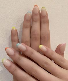 Kaia Gerber puts a colourful and festive twist on the French manicure with the help of New York nail artist Mei Kawajiri of Nails By Mei. Cute Nails, Pretty Nails, My Nails, Cute Nail Polish, Cute Acrylic Nails, Exotic Nails, Kaia Gerber, French Tip Nails, Colorful French Manicure