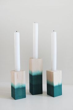 diy dip dyed candlesticks – almost makes perfect i've got wedding on the brain so i've been brainstorming easy little projects that could work for it. i definitely want to incorporate a bunch of wood and watercolor elements — so here we are.
