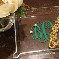 A monogram jewelry tray is a must for on your dresser!