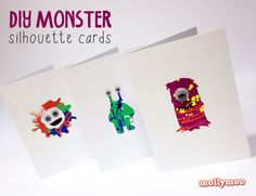 DIY Monster Cards with free stencils - upcycle your kids paint experiments, wrapping paper scraps or scrapbooking papers for sending perfect Halloween greetings and year round birthday cards