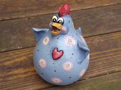 Paulette Chicken Gourd and Clay Sculpture by TheLaughingCabin