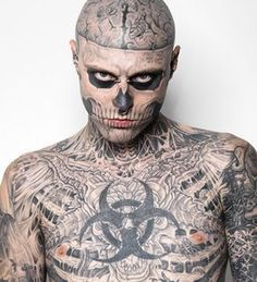 Impressive Rick Genest's Tattoos & demo showing how Dermablend covers his tattos up Professional Coverage Cosmetics introduces Zombie Boy Rick Genest