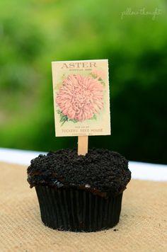 Pillow Thought: Lexi's Enchanted Garden Birthday Party Dirt Cupcakes, Garden Cupcakes, Cupcake Cakes, Garden Birthday, 2nd Birthday Parties, 60th Birthday, Birthday Ideas, Pink Lemonade Party, Pillow Thoughts