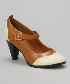 4260e04b882 Take a look at this Chase   Chloe Tan Wingtip Dora Mary Jane Pump on zulily  today!