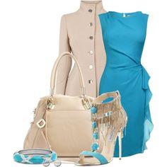 Light blue dress, beige coat, jimmy choos:)