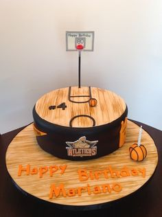 Basketball birthday cake Los Atleticos de San German www.simplydulcekakes.com