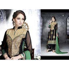 Fabric ROYAL GEORGETTE, Bottom & Inner Fabric, SANTOON Dupatta, Fabric NAZMIN CHIFFON, Pattern STRAIGHT SUIT | 6206 Black With Green LEO Designer Party Wear Suit