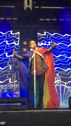 Brendon Urie of Panic! at theDisco, wearing a rainbow flag :)