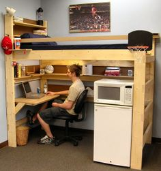 Typical college student dorm room with our loft bed.