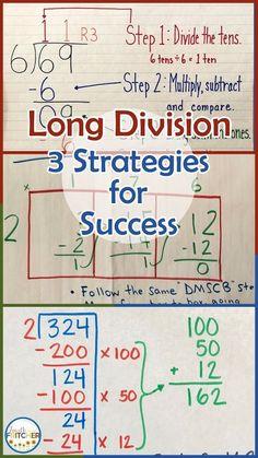 a classroom teacher sharing her ideas and experience as a fourth grade teacher Long Division Strategies, Teaching Long Division, Math Division, Math Strategies, Math Resources, Teaching Math, Long Division Activities, 3rd Grade Division, Kindergarten Math
