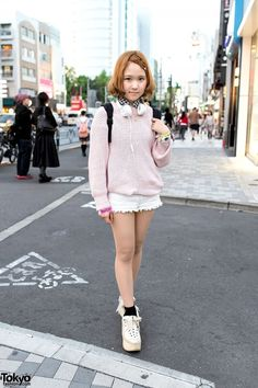 Tokyo Bopper Platforms, Snidel Sweater & Lace Shorts in Harajuku
