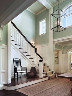 Love the separation of space and the mouldings! I would prefer a beige or sage green.