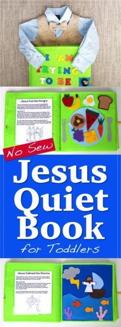Toddler busy, quiet book for church. This no sew Jesus Quiet Book full of fun activities, Jesus Bible stories, and scriptures just requires some felt, hot glue, and a few other supplies. (No sewing skills needed!) Great for LDS / Mormon moms looking for a way to entertain kids during sacrament meeting and keep them reverent.
