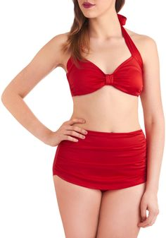 Esther Williams Bathing Beauty Two Piece in Red | Mod Retro Vintage Bathing Suits | ModCloth.com