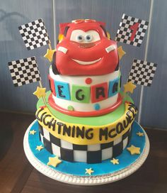 Lightning Mcqueen cake - topper made from cereal treat