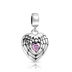 e73eabbb9 Bling Jewelry 925 Silver Angel Wing Heart Message Pink Dangle Bead Fits Pandora  Heart Jewelry,