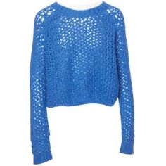 Pre-owned Christopher Kane Wool Jumper ($350) ❤ liked on Polyvore featuring tops, sweaters, blue, women clothing knitwear, blue jumper, long sleeve sweater, blue oversized sweater, knitwear sweater and long sleeve jumper