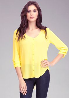 pictures of a wardrobe for over 60 | Bebe High Low Shirt Blouse | Great clothes for the over-60 woman