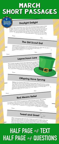 These 6 nonfiction mini-passages have the informational text and 4 multiple-choice comprehension questions on one page. Topics include leprechauns, baby animals, birds, daylight saving time, the Red Cross, and the Girl Scouts. Great for March and spring reading!