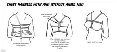 chest harness with and without arms tied
