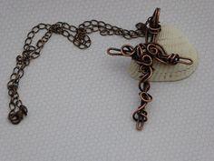 Unisex Copper Cross  Pendant - Copper Crucifix - Bohemian Cross Pendant - Copper Gifts - Wirework - Adjustable Length