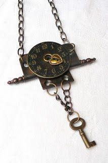 Partes de un reloj convertidas en un colgante.