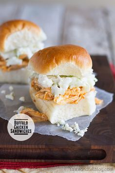 Perfect for game night or as an easy dinner, these Buffalo Chicken Sandwiches are piled with buffalo chicken and a blue cheese salad. Yummy Eats, Yummy Food, Tasty, Quesadillas, Tostadas, Buffalo Chicken Sandwiches, Chicken Sliders, Football Food, Wrap Sandwiches
