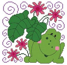 From Cross Stitch Wonders - Flowers And Friends Frog    Adorable Flowers And Friends Frog Design! Stitch count is 80 x 80. Included is a large/easy to read counted cross stitch chart, suggested DMC floss colors, and a color picture.