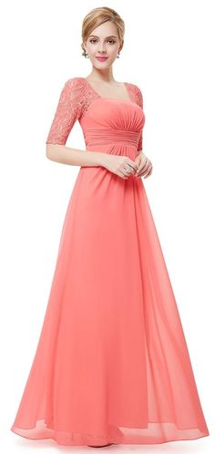 PENNY 20's Gatsby Coral Lace Maxi Prom Bridesmaid Cruise Dress - www.eloises-secret-closet.co.uk