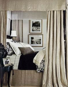 striking--might be silk with black and white bed linens but would be rustic with  linen