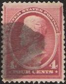 Carmine 4-cent U.S. postage stamp picturing Andrew Jackson