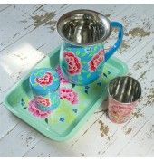 Fair Trade Mint Floral Tray by INDICA These stunning floral trays are skilfully hand painted by artisans in Kashmir, India