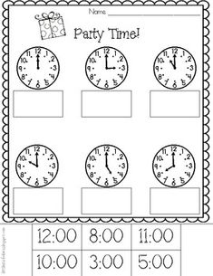 These printables are perfect for practicing telling time to the hour. Student also practice fine motor skills as they cut and glue! Aligned with Common Core Standard: Tell and write time in hours and half-hours using analog and digital clocks. Teaching Time, Teaching Kindergarten, Student Teaching, Math Skills, Math Lessons, Math Resources, Math Activities, Math Enrichment, Time To The Hour