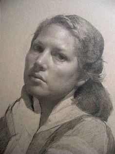 Self Portrati-Camie Davis. Autoretrato de Camie Davis, discipula durante años de Jacob Collins