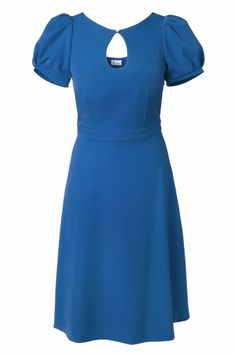 Red Juliet Couture - 40s Sylvia keyhole pearl A line dress vintage blue
