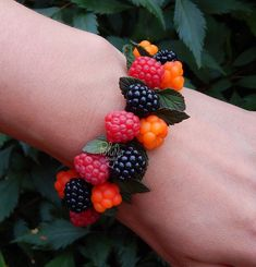 Forest Berries charm bracelet - Fruit jewelry - colorful  bracelet - Autumn Girlfriend gift ideas for her - eco rustic wedding