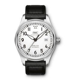 IWC Pilot's Watch Mark XVIII mens watch. Shop the finest collection of Swiss watches in Boston. Authorized Swiss watch dealer and used watches. Sell your watch to us as well! Iwc Watches, Watches For Men, Sport Watches, Iwc Chronograph, Matte Black Background, Iwc Pilot, Luxury Watches, Leather Men, Omega Watch