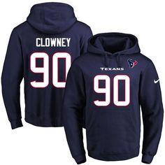 Nike Texans #90 Jadeveon Clowney Navy Blue Name & Number Pullover NFL Hoodie