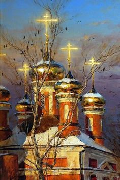 Those evening bells. Landscape painting by Russian artist Stepan Nesterchuk Russian Painting, Russian Art, Russian Beauty, Christian Artwork, Russian Orthodox, Church Architecture, Old Building, In Ancient Times, Kirchen